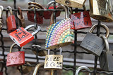 A bedazzled love lock hangs from the Hohenzollern Bridge in Cologne, Germany.