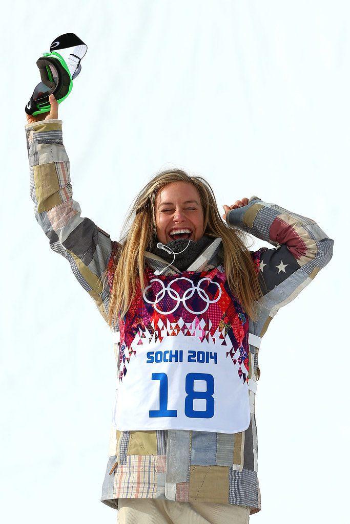 Team USA's Jamie Anderson cheered after winning the gold medal in the first women's Olympic slopestyle snowboarding competition.