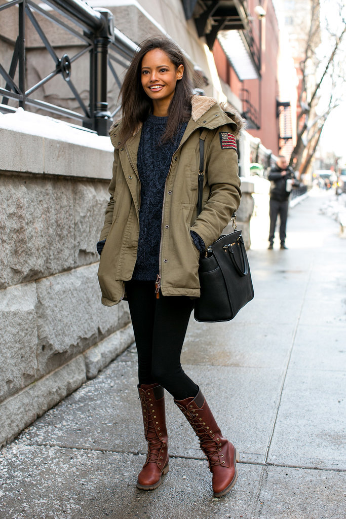 We like that coat, but we love those boots.