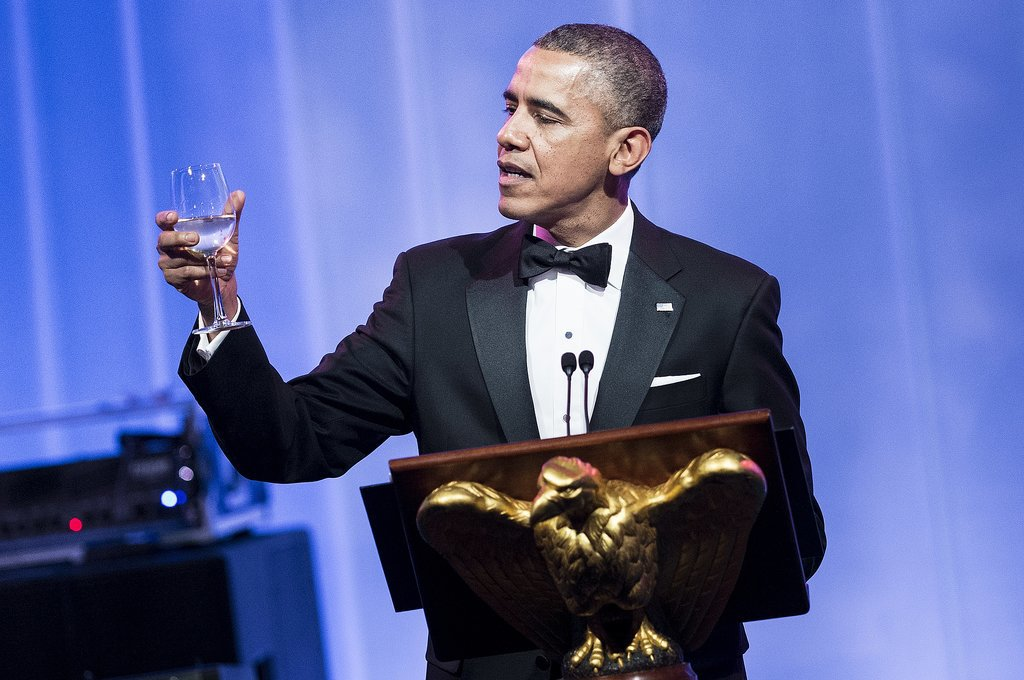 Obama toasted with water.