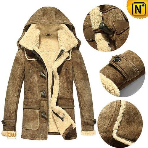 Men Hooded Sheepskin Shearling Jacket CW877093