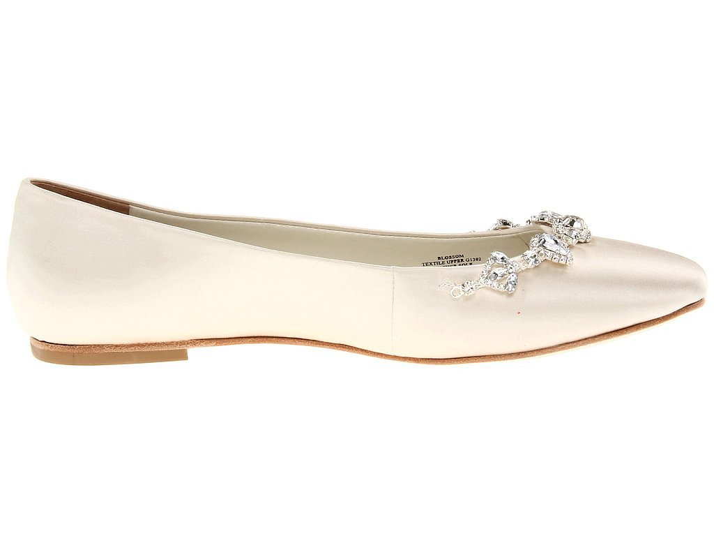 David Tutera white satin bejeweled flats ($111-$159)