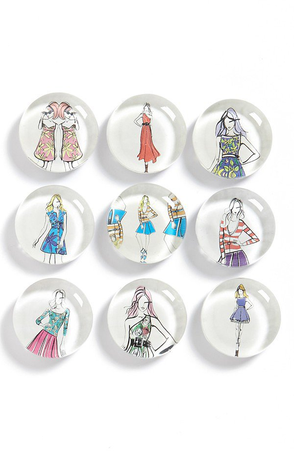 Give your fridge or your desk some love with these cute fashion magnets ($28).