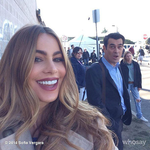 Sofia Vergara and Ty Burrell goofed around on the set of Modern Family. Source: Sofia Vergara on WhoSay