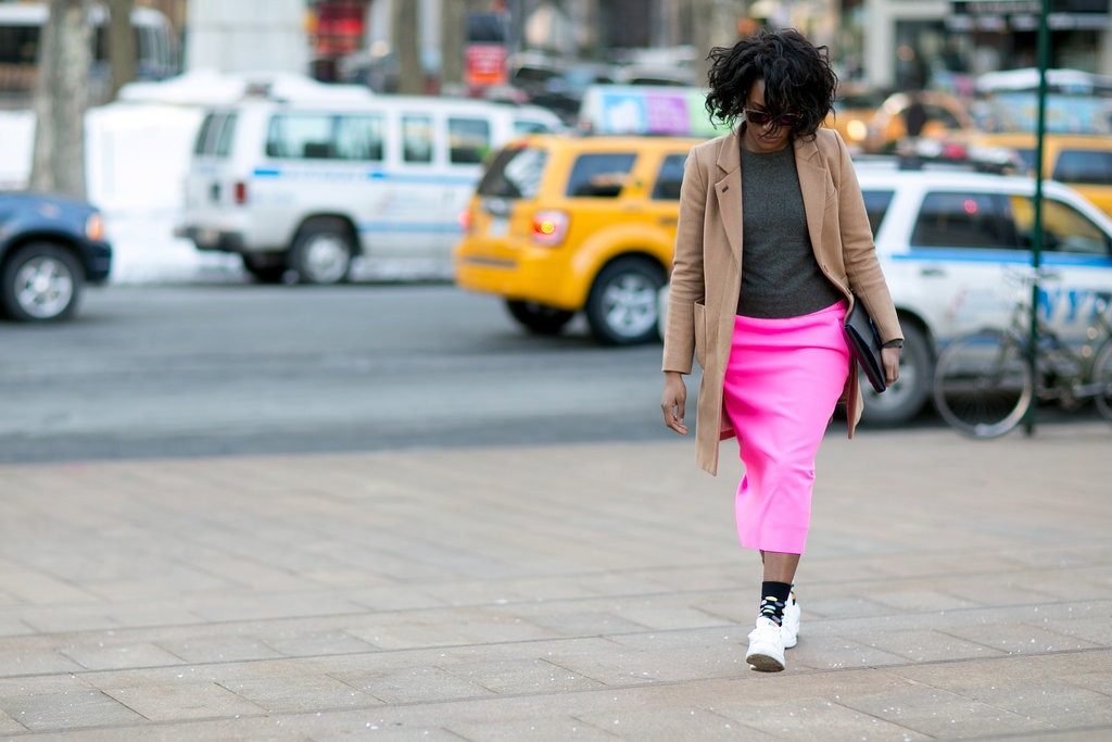 Danielle Prescod did business on top, party on the bottom with a hot-pink skirt, socks, and sneakers.