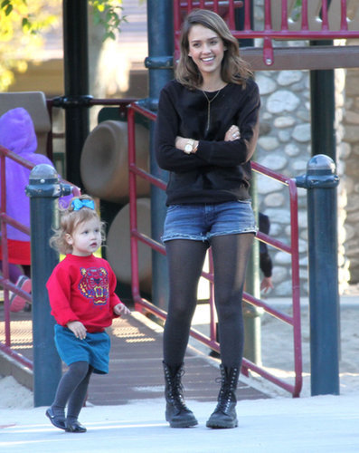 For a February family park date, Jessica proved denim cutoffs shouldn't be restricted to Summer. She winterized her casual bottoms with a calf-hair Rachel Zoe sweater, lace-up leather boots, and a dainty Kitsch y-chain necklace.
