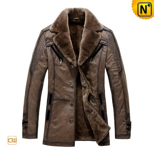 Sheepskin Lining Mens Leather Coat CW819173