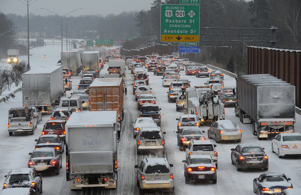 Durham, NC, saw dangerous traffic jams, with some people forced to abandon their cars.