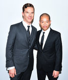 Benedict Cumberbatch met with designer Jason Wu at the Hugo Boss womenswear show.