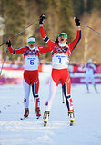 Norway's Maiken Caspersen Falla and Ingvild Flugstad Oestberg celebrated after the pair won first and second place in the ladies' sprint free finals.