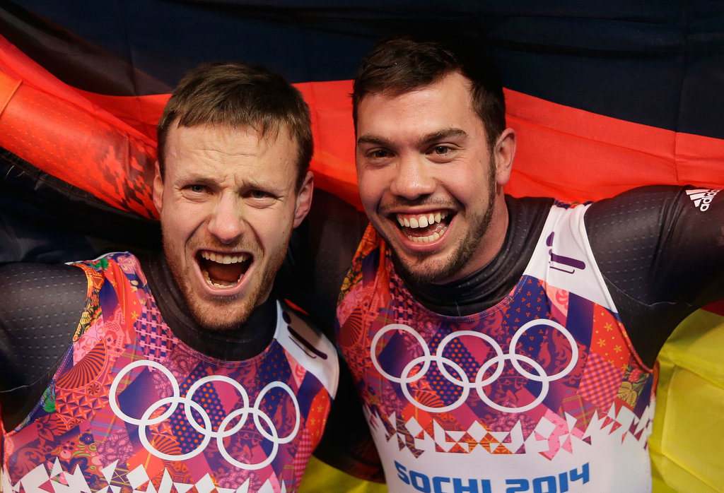 Luge teammates Tobias Wendl and Tobias Arlt of Germany celebrated after taking the gold in the men's luge doubles event.