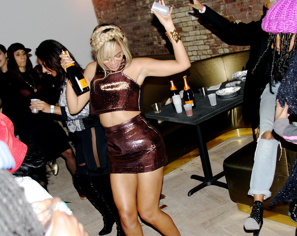 Beyoncé danced and drank Champagne at her sister Solange's MSQFT x SaintHeron New York Fashion Week bash in February 2014. Source: Tumblr user beyonce