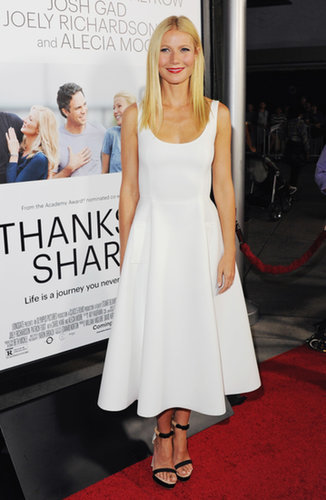 For the LA premiere of Thanks For Sharing, the leading lady chose a crisp, retro Lanvin dress with colorblock Nicholas Kirkwood sandals.