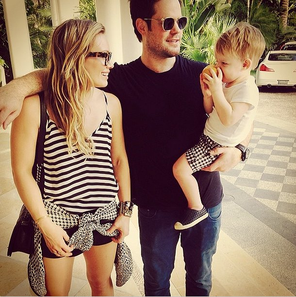 "Hilary Duff went on a Valentine's Day vacation with her son, Luca, and her ex, Mike Comrie. She captioned this picture ""#modernfamily.""