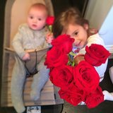 Arabella and Joseph Kushner were ready with red roses for their mom, Ivanka Trump, on Valentine's Day morning. Source: Instagram user ivankatrump
