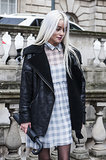 The leather biker jacket will always be a classic. Here it's teamed with girlie gingham for contrast.