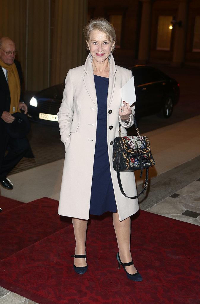 Helen Mirren arrived at Buckingham Palace.
