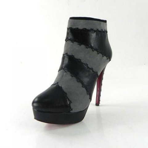 Christian Louboutin Ankle Boots Stripe Black Grey