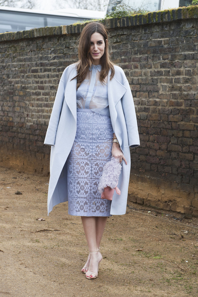 This Burberry look in pale lavender was a real head turner.