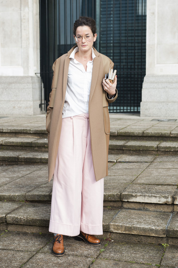 Long, wide trousers were one of London's big street style trends.