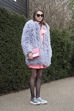 Pastels look edgy, not cute, when they're done in oversize fur!