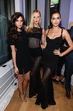Sara Sampaio, Anne V, and Irina Shayk matched in black.