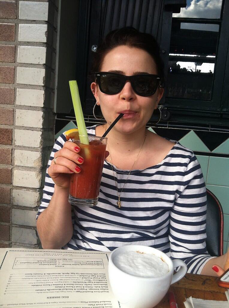 "Parenthood stars Mae Whitman and Miles Heizer (who are also best friends and roommates) went to brunch, where Mae drank ""alcohol soup"" through a straw. Source: Twitter user milesdheizer"