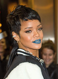 For her River Island fashion launch in 2013, Rihanna decided to go for an edgy beauty look involving a mullet and raspberry-blue lipstick.