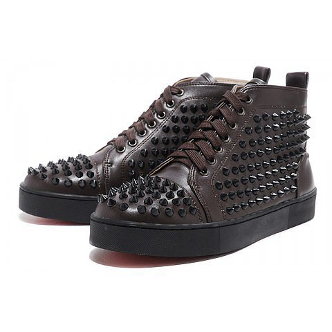 Christian Louboutin Studded Mens Sneakers Coffee