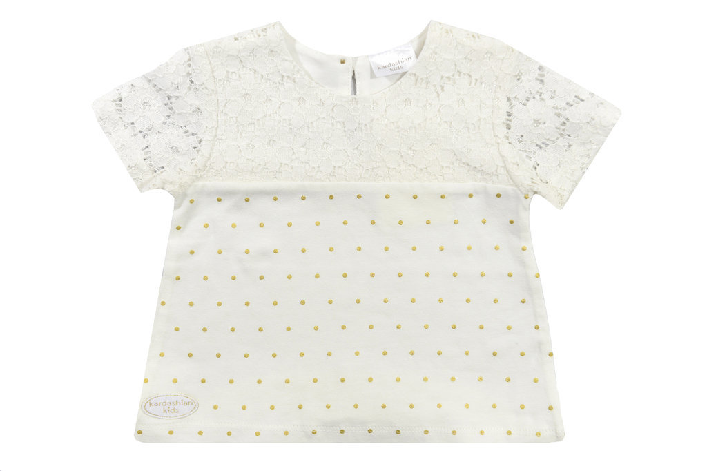 White-and-Gold Tee With Lace Sleeves