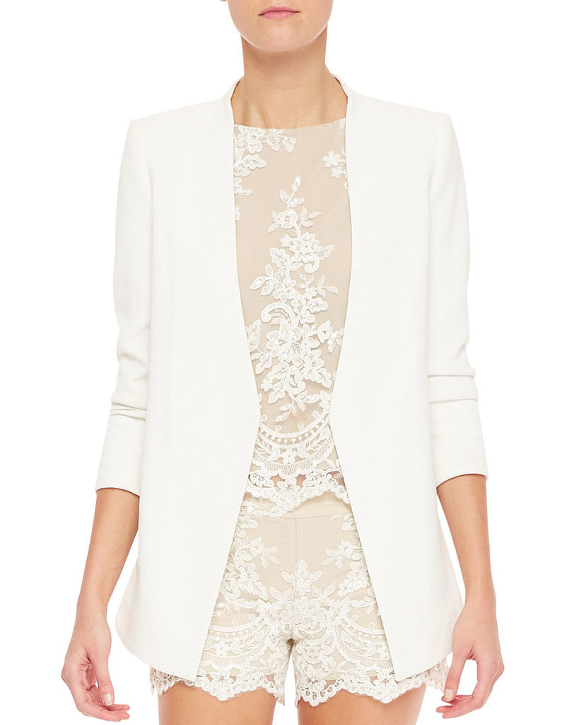 Alice + Olivia Slim-Cut Long White Blazer ($396)