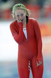 Norway's Mari Hemmer was in shock after the women's speed skating 5000-meter race.