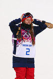 Gold medalist Maddie Bowman of the United States celebrated during the flower ceremony for the women's half-pipe.