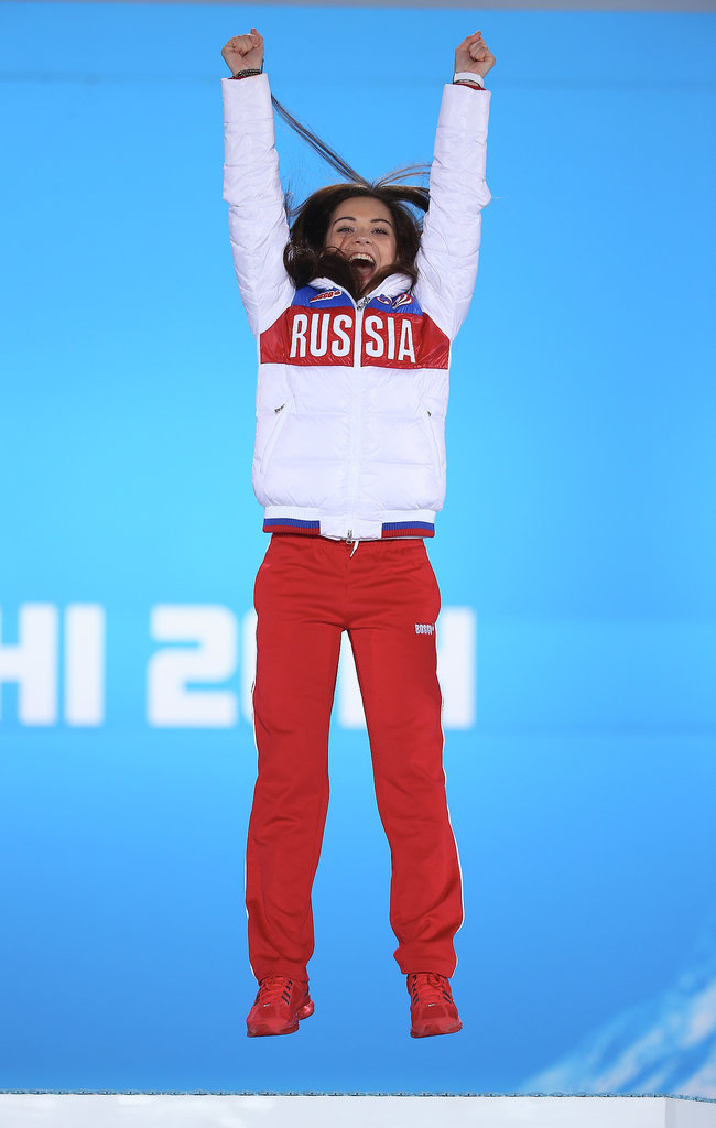 Gold medalist figure skater Adelina Sotnikova of Russia jumped for joy during the medal ceremony.