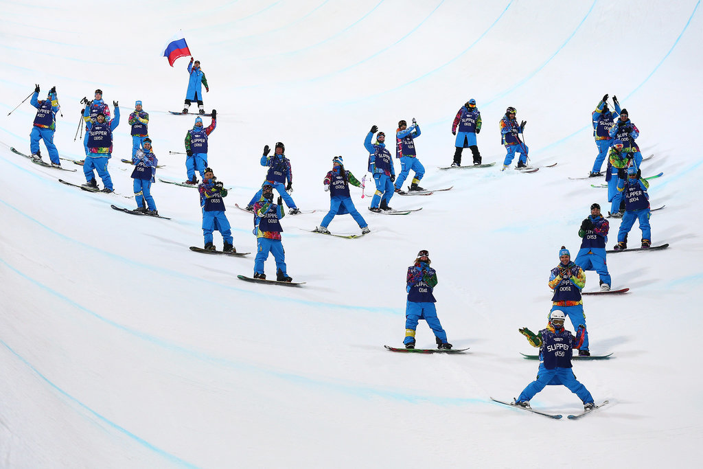 Crew members skied down the middle of the halfpipe in the shape of a massive heart to honor Sarah.