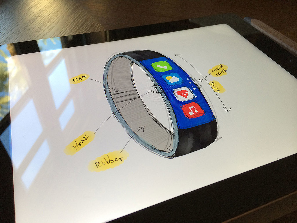 Initial Sketch of the FuelBand-Inspired iWatch