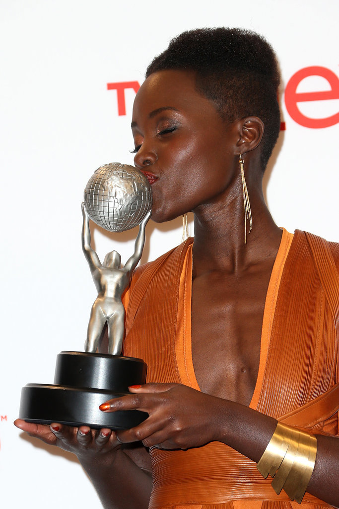 She just had to kiss the trophy.