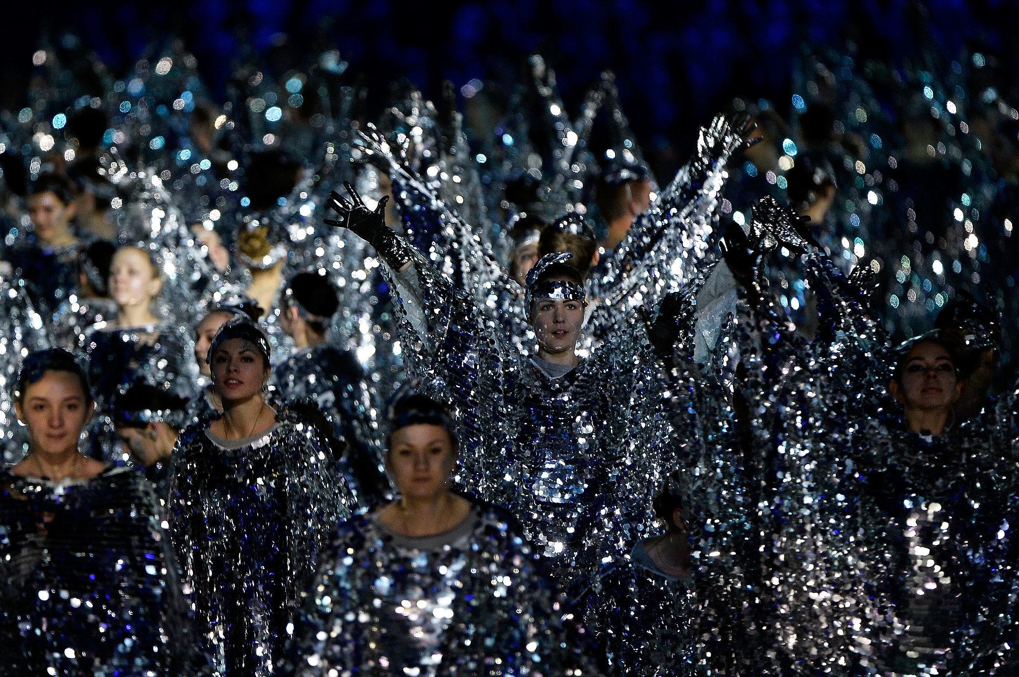 Dancers in sparkly silver outfits took the spotlight.