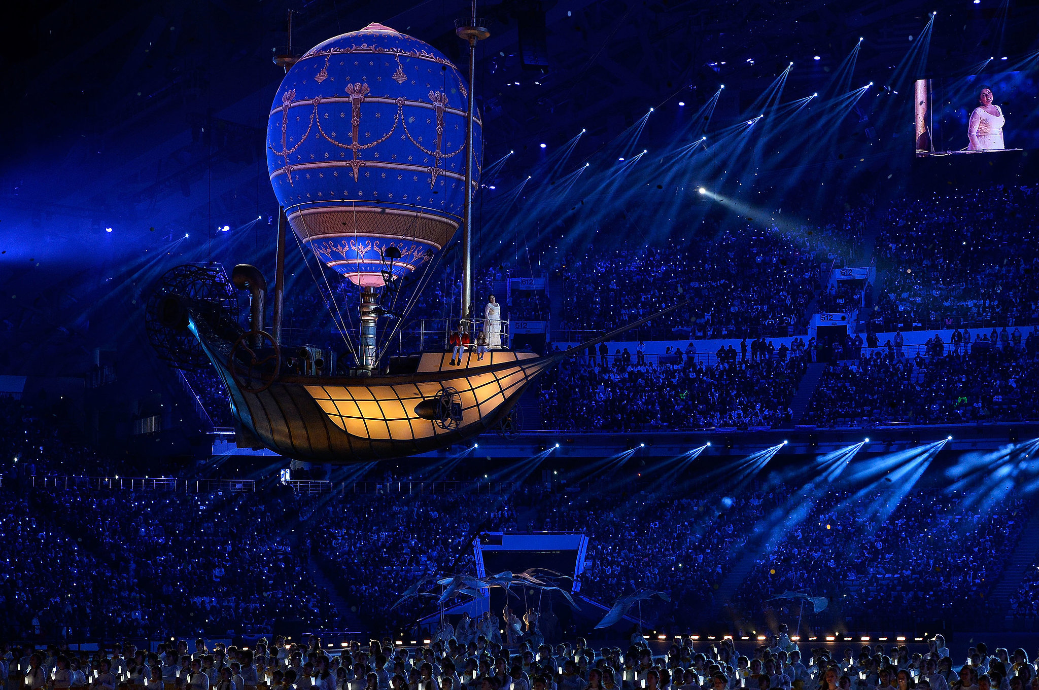 Russian singer Anna Netrebko performed from inside a glowing gondola.