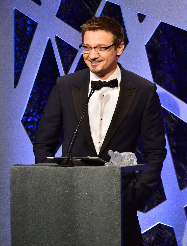 Jeremy Renner addressed the audience.
