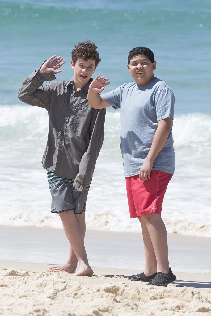 Nolan Gould and Rico Rodriguez at Bondi Beach on Feb. 21.