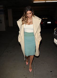 Kim Kardashian in White Tank Top and Blue Pencil Skirt