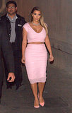 Kim Kardashian in Pink Crop Top and Pencil Skirt