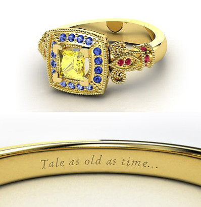 Sierra from Heck Yeah Disney Merch used Gemvara to create these Disney-princess-inspired rings — and they are spot-on, right down to the personalized engraving. You can buy Belle's ring here!