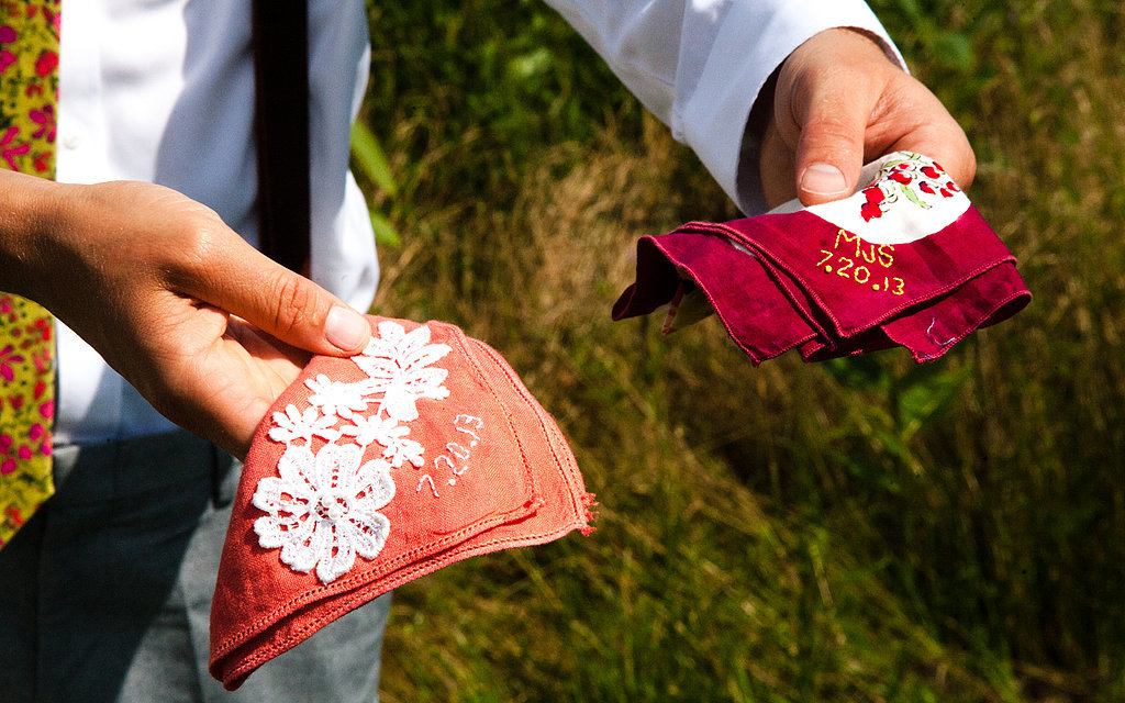 Amy made herself, Mark, and the wedding party hand-embroidered vintage hankies as gifts. Source: Evangeline Lane Photography