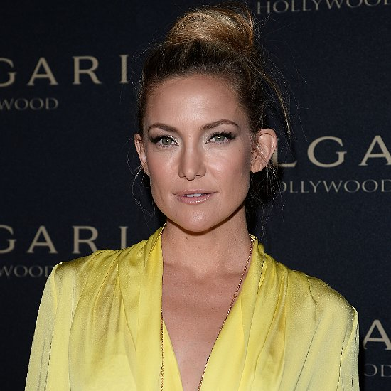 Kate Hudson High Bun and Cat Eye Makeup