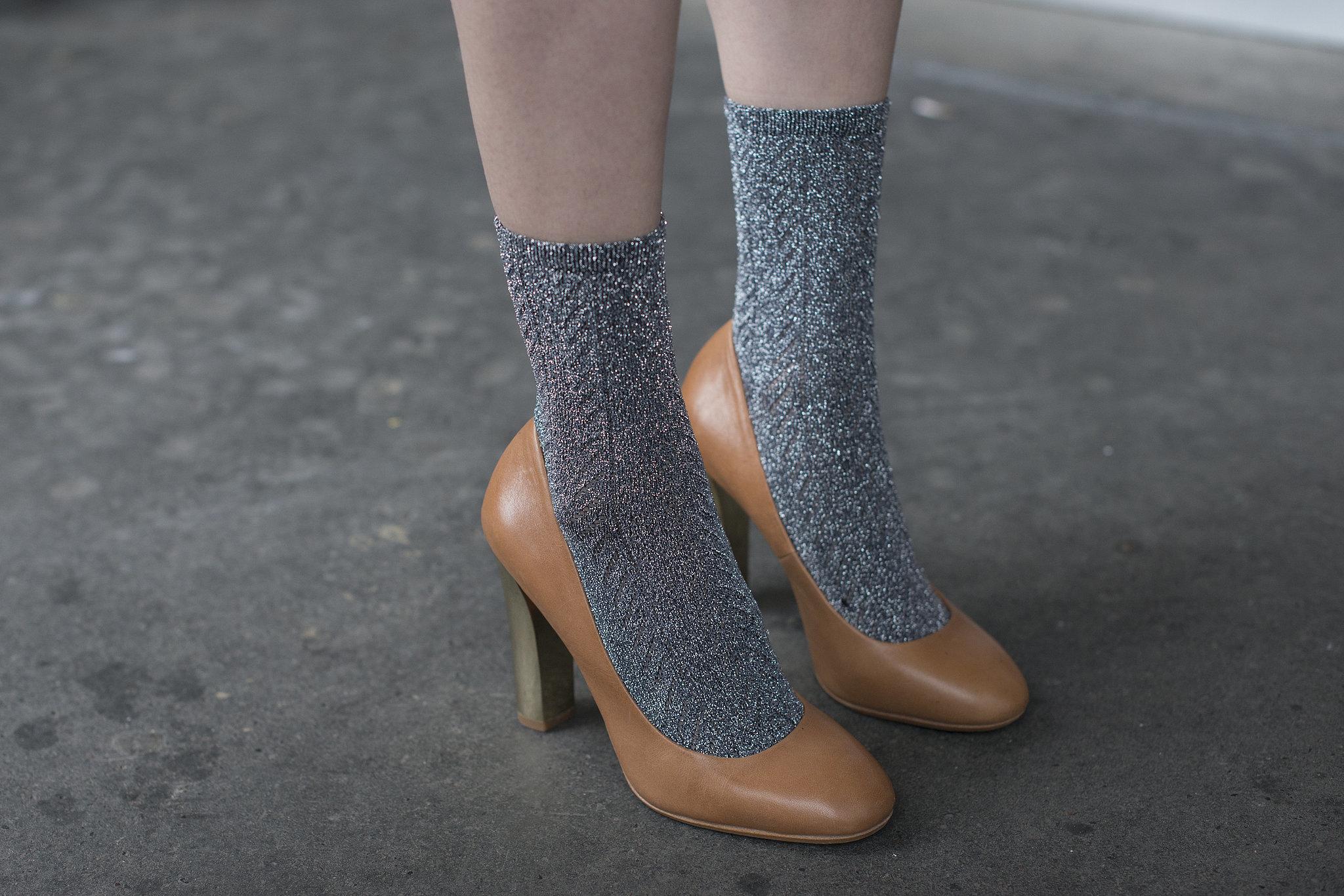 Socks sweeten up these pumps.