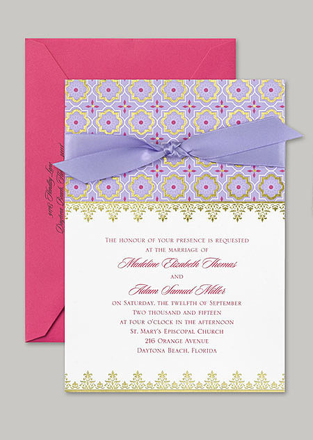 "This ""Exotic Romance"" Jasmine-inspired stationery features purple and fuchsia with gold foil accents and a Middle Eastern pattern."