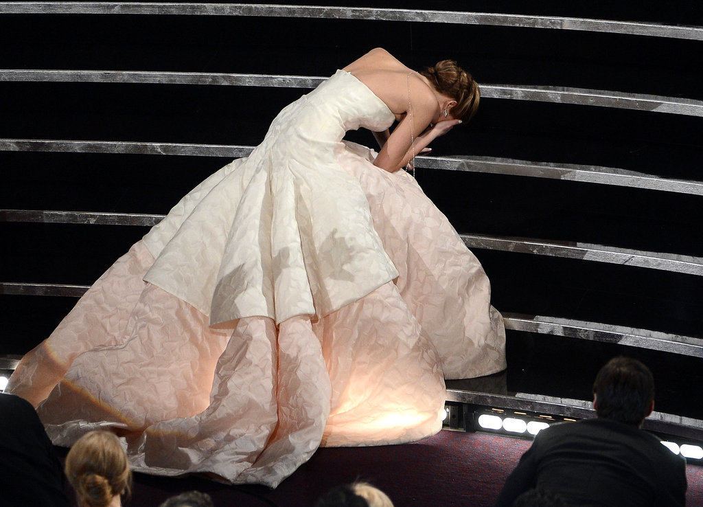 On the way up the steps to accept her best actress award for Silver Linings Playbook, Jennifer Lawrence tripped on her dress in 2013.