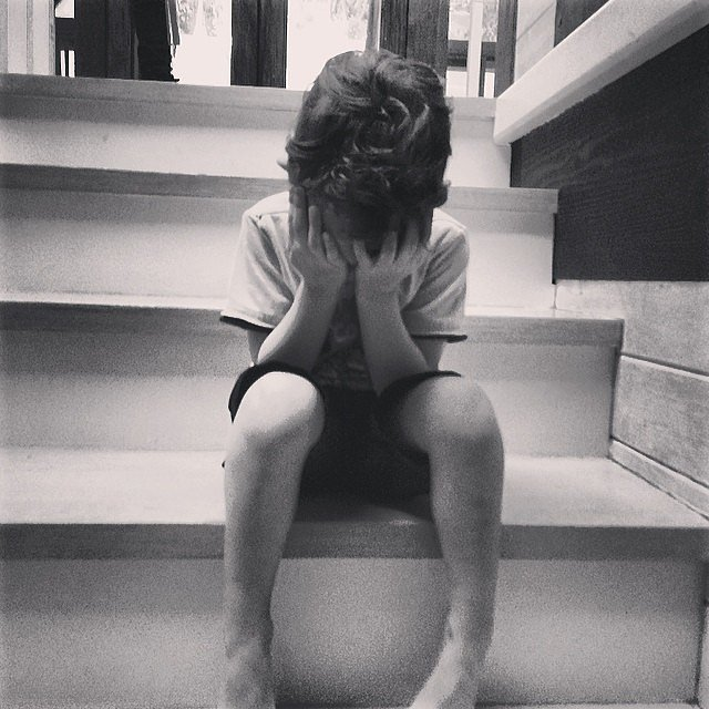 Sparrow Madden wasn't too happy about waiting for his dad. Source: Instagram user joelmadden